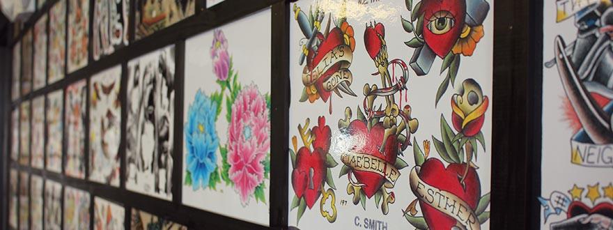 vintage tattoo art,shop interior