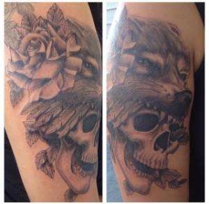 skull wearing wolf